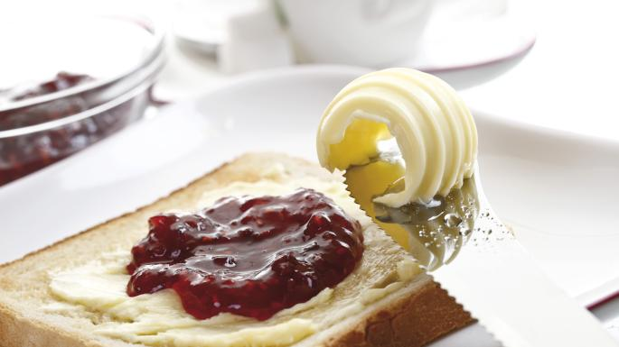 toast with butter and jam