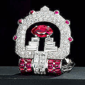 ruby and diamond clip brooch by Cartier